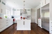 white shaker kitchen dark white oak flooring